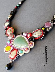 Soutache necklace with dendritic jasper stones