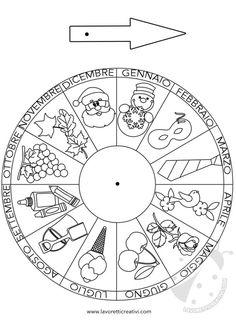 Materiale didattico Costruire la ruota dei mesi | Lavoretti Creativi Preschool Learning, Preschool Crafts, Learning Italian, All Kids, Kids Education, Mandala, Classroom, Symbols, Letters