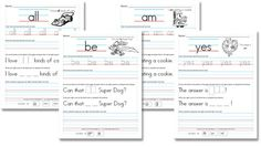 Kindergarten Sight Word Sentence Printables