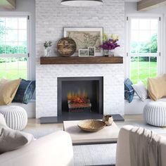 Wood Mantle Fireplace, Fireplace Update, Brick Fireplace Makeover, Fireplace Shelves, White Fireplace, Living Room With Fireplace, Fireplace Design, Mantel Shelf, Fireplace Ideas