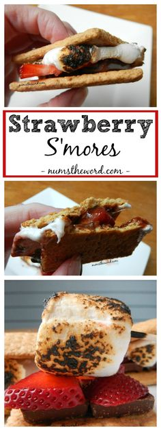Strawberry S'mores are the most amazing campfire treat you can create. I'm totally going to try this this summer! Best Dessert Recipes, Easy Desserts, Delicious Desserts, Yummy Food, Tasty, Sweets Recipes, Fun Food, Fall Recipes, Yummy Treats
