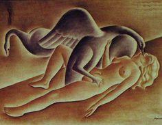 Leda e o Cisne 1947 | Vicente do Rego Monteiro óleo sobre tela 50.00 x 65.00 cm