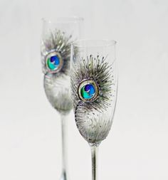 Silver Peacock Feathers Wedding Toasting by NevenaArtGlass on Etsy, $54.90