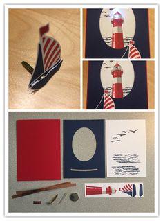 Stampin Up High tide blinking led for dummies part 3 card slider card led blinking lighthouse swirly bird