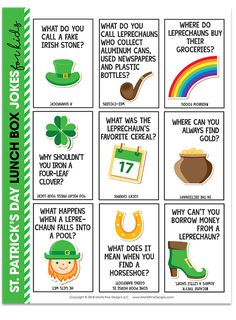 Who said lunchtime had to be boring? Get your kids laughing at lunchtime with these funny and free printable St. Patrick's Day Lunch Box Jokes. A fun way to make March more exciting! #lunchboxjokesforkids #stpatricksdaylunchjokes #StPatricksDayLunchIdeas #freeprintable