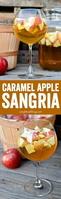 Caramel Apple Sangria - a delicious combination of your favorite flavors for fall in one delicious drink!  Tamara fields