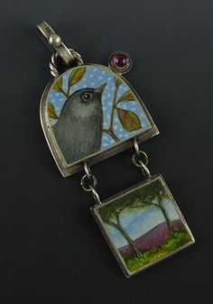 'Fly Home'. Pendant in sterling silver, egg tempera, tourmaline. Sarah JG Wauzynski
