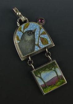 'Fly Home'. Pendant in sterling silver, egg tempera, tourmaline. Sarah JG Wauzynski