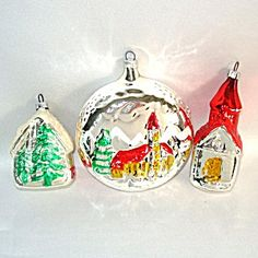 West Germany Church and House Glass Christmas Ornaments