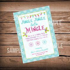 Holiday Party Invitation- Christmas Party Invitation- Jingle Jingle Let's Mingle on Etsy, $10.00