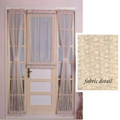 """72"""" Long Charlotte Lace Cream Door Curtain Panel With Tie-back by United Curtain. $8.99. 40"""" wide x 72"""" long includes 1 Tie-back. Charlotte Lace Cream Door Panel Curtains Clearance Sale Door panels measure 40"""" wide and include 1 matching tieback 100% polyester and machine washable. Use for french doors, sidelight windows, transom windows and windows in entrance doors All panels are sold individually. Top & Bottom rod pockets Available in Cream only. Use 1"""" curtain or sash rods"""