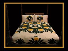 """A burst of colors from the old Pineapple Fields of Hawaii adorn this contemporary quilt. Some of our most popular items are our Hand Quilted, custom, Hawaiian Bed Spreads. Each of our """"Kapa Lau"""" (Hawa"""