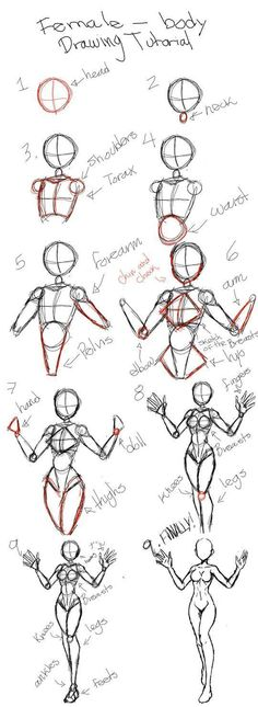 Drawing tutorial for female body - drawing the female human . - Tutorial for drawing female body – drawing the female human body Tutorial for drawing female body - Art Drawings Sketches Simple, Pencil Art Drawings, Drawing Tips, Easy Drawings, Drawing Drawing, Manga Drawing Tutorials, Drawing Techniques, Body Sketches, Drawing Hair