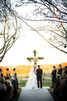 great idea to have a beautifully decorated cross in place of altar. Wedding Cross, Wedding Bells, Wedding Ceremony, Our Wedding, Dream Wedding, Wedding Venues, Church Ceremony, Church Wedding, Outdoor Ceremony