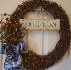 Faith Hope Love Grapevine with Rusty Tin Stars, Pip Berries and Gingham Ribbon; Primitive Wreath; Country Wreath; Rustic Wreath; Navy Brown by ChewsieCreations on Etsy