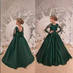 Verde escuro Flor Meninas Vestidos de Casamento Com Arco Nó Lantejoulas Sem Encosto De Cetim Meninas Pageant Vestidos Na Altura Do Joelho Primeira