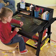 Kids Flip Down Wood Easel/Art Desk Combo in Espresso from One Step Ahead | 2Y30933