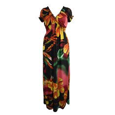 Plus Size Sexy Floral Printed V Neck Maxi Dress