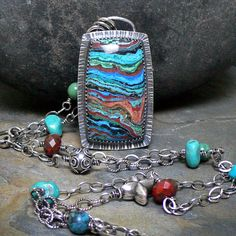Long Beaded Necklace with Rainbow Calsilica by McComseyDesigns