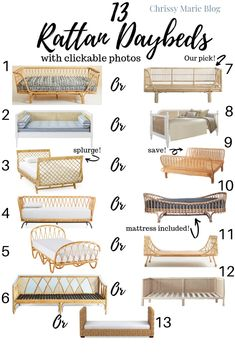 Rattan day beds of all price points! The splurges and the knock offs. Trendy rattan can be boho or chic in bedrooms, as a guest bed, or as a lounge.