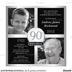 90th Birthday Invitations Then Amp Now 2 Photos 525 Square Invitation Card