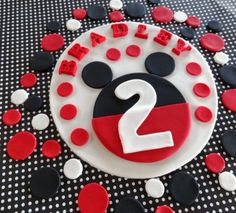 """6"""" Fondant edible cake topper + 25-30 polka dots for decorating your cake and/or cupcakes, full party package, """"Mickey mouse"""" inspire"""