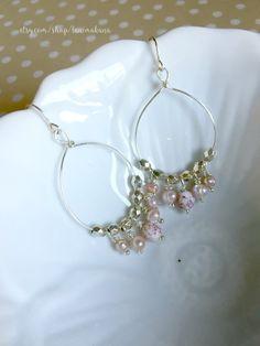 Beaded Hoop Chandelier Earrings - Pale Pink Peach