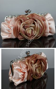 Clutch bag with rose, flower