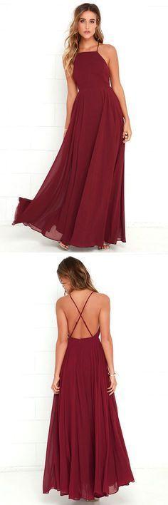 burgundy long prom dress, cheap prom dress under 100. 2017 long prom dress bridesmaid dress #longpromdresses #promdresses #dresses