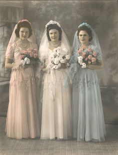 1940's bride with her attendants in different pastel shades; so popular then. www.virginiajustermarriagecelebrantgympie.com