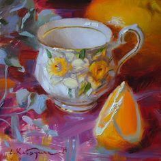 Paintings by Elena Katsyura #Teacup #Daffodil #Teacup