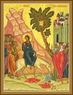 "The Entry of the Lord into Jerusalem, ""Palm Sunday"" – Damascene Gallery Jerusalem, Iron Mountain, Life Of Christ, Palm Sunday, Holy Cross, Religious Icons, Orthodox Icons, Egyptian, Catholic"