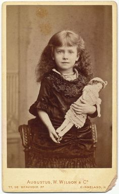 Victorian Photo, Pretty Girl with Doll, 1880s