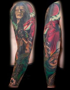 Star Wars sleeve part 2 by Alonzo Villa- Bearcat Tattoo Gallery- Little Italy- San Diego, CA
