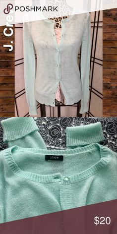 Cardigan, Long Sleeve, Delicate, Mint Green, Sz S Beautiful mint green cardi from J Crew. Item has been preloved but well cared for and professionally cleaned. Delicate, feminine knit fabric with matching jeweled buttons set this apart from your everyday cardigan. Size not marked but I believe it is a small based on the J. Crew measurements chart. Photos of measurements included. Please forgive my amateur photo skills. The second pic shows the color pretty spot on. Please feel free to ask…