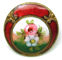 Antique French Enamel Button Hand Painted Floral and Ruby Red Enamel