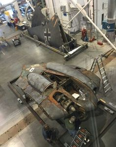 """"""" The remains of the only Horten 229 flying wing jet fighter at the Smithsonian Museum. Hopefully they can restore it so it can fly again. Ww2 Aircraft, Fighter Aircraft, Fighter Jets, Aircraft Carrier, Military Jets, Military Aircraft, Luftwaffe, Horten Ho 229, Flying Wing"""