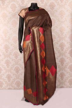 #Brown multicoloured pure #banarasi silk mesmerized #saree with antique gold multicoloured border -SR12107