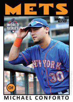 : 2015 World Series NY Mets Michael Conforto Fsu Baseball, New York Mets Baseball, Baseball Shoes, Baseball League, Ny Mets, Baseball Players, Baseball Cards, Baseball Stuff, Football