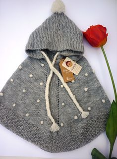 ALPACA WOOL Baby poncho with hood Hand knit in by febressfashion                                                                                                                                                                                 More