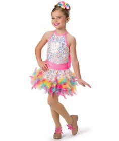 17465 - Bubblegum All-in-One Leotard with 17465HP Hot Pants, 17465SK Boa Skirt, 17465T Tutu by A Wish Come True