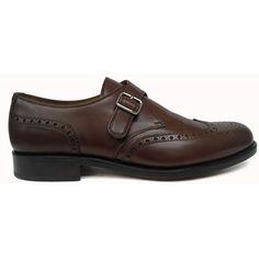 Zapato de hebilla con pala vega y picado maría en color marrón de Yanko  vista lateral 703b63408fe