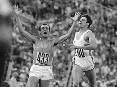 Pietro Mennea festeggia la vittoria nei 200 metri alle Olimpiadi di Mosca 1980.