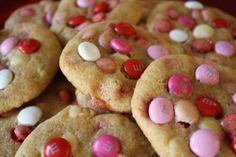 Fun pink, red and white M&M cookies for Valentine's Day.