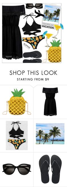 """""""Tropical vacation/ROMWE"""" by hajni0103 ❤ liked on Polyvore featuring Polaroid, Havaianas, TIKI, romwe, pineapple and TropicalVacation"""