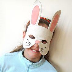 White rabbit mask for children.