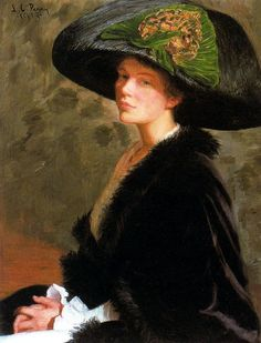 The Green Hat (Edith Perry) 1913. Oil on canvas.   by Lilla Cabot Perry (American, 1848-1933)