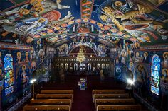 Serbian Orthodox Church in  Butte, Montana  ((traditional Orthodox churches do not have pews))