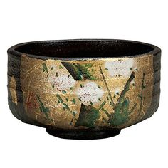 "Japanese drawn Ceramic Porcelain kutani ware. Japanese matcha tea bowl chawan with wooden box. Gold and ume."" Japanese ceramic Hagiyakiya K4-840 ** This is an Amazon Associate's Pin. You can get more details by clicking on the image."