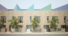 Bell Phillips Architects Social Housing Architecture, Architecture Design, Newham, Boarding House, Brick Facade, Affordable Housing, Exterior Design, Townhouse, Architects